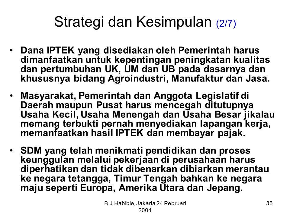 B.J.Habibie, Jakarta 24 Pebruari 2004 35 Strategi dan Kesimpulan (2/7) Dana IPTEK yang disediakan oleh Pemerintah harus dimanfaatkan untuk kepentingan peningkatan kualitas dan pertumbuhan UK, UM dan UB pada dasarnya dan khususnya bidang Agroindustri, Manufaktur dan Jasa.