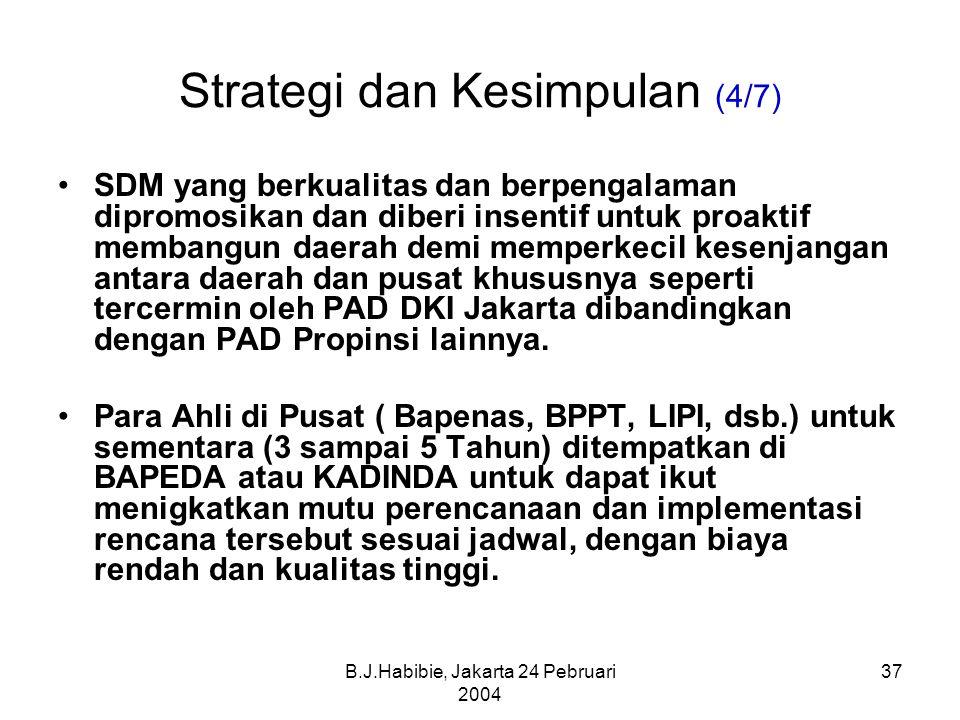B.J.Habibie, Jakarta 24 Pebruari 2004 37 Strategi dan Kesimpulan (4/7) SDM yang berkualitas dan berpengalaman dipromosikan dan diberi insentif untuk proaktif membangun daerah demi memperkecil kesenjangan antara daerah dan pusat khususnya seperti tercermin oleh PAD DKI Jakarta dibandingkan dengan PAD Propinsi lainnya.