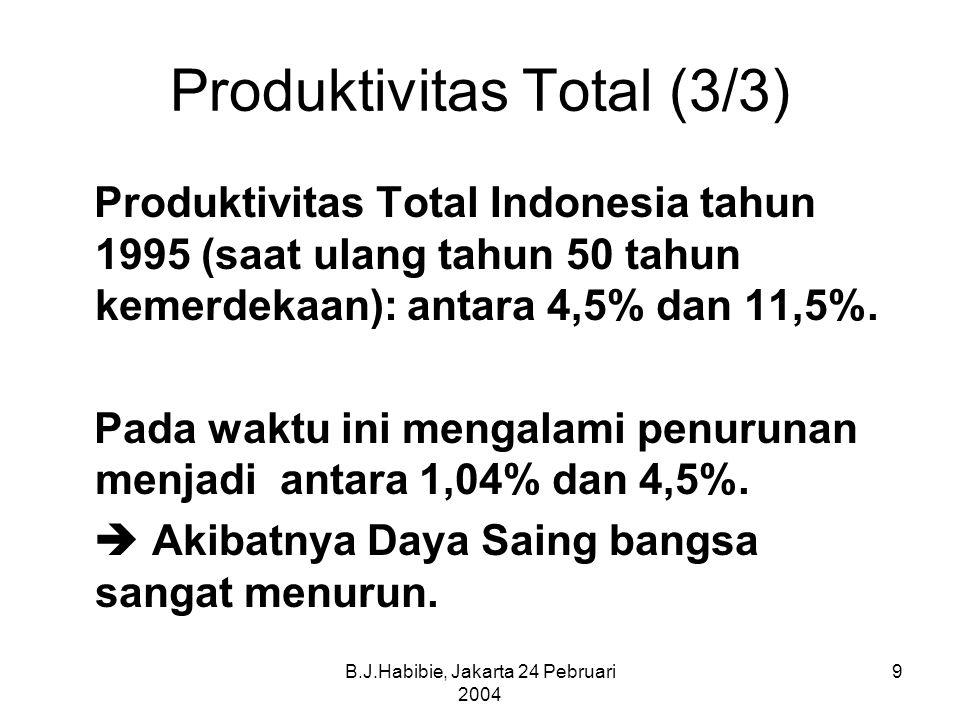 B.J.Habibie, Jakarta 24 Pebruari 2004 9 Produktivitas Total (3/3) Produktivitas Total Indonesia tahun 1995 (saat ulang tahun 50 tahun kemerdekaan): antara 4,5% dan 11,5%.