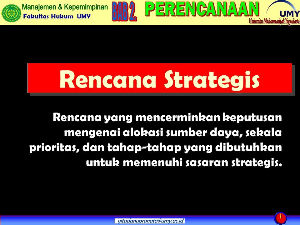 Fakultas Hukum UMY Rencana Strategis Rencana yang mencerminkan keputusan mengenai alokasi sumber daya, sekala prioritas, dan tahap-tahap yang dibutuhkan untuk memenuhi sasaran strategis.