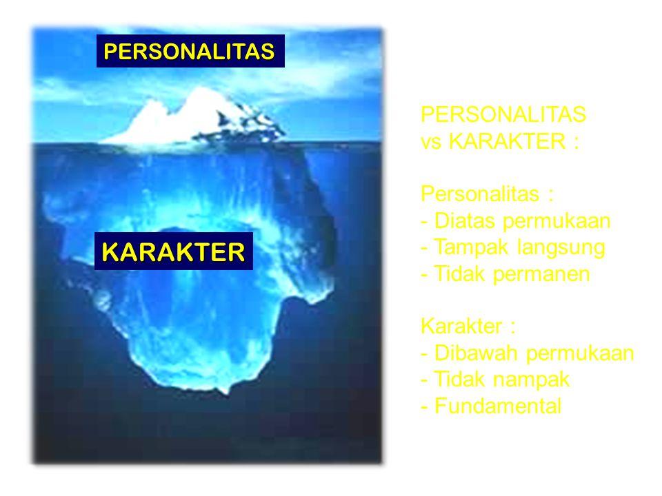 PERSONALITAS KARAKTER PERSONALITAS vs KARAKTER : Personalitas : - Diatas permukaan - Tampak langsung - Tidak permanen Karakter : - Dibawah permukaan -