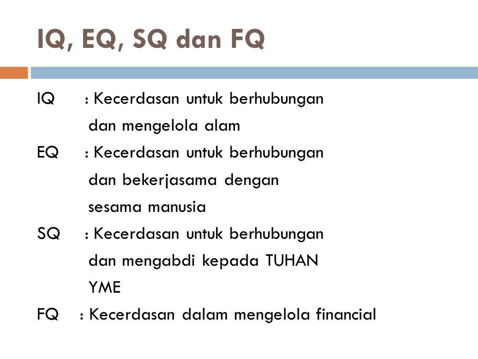 IQ, EQ, SQ dan FQ IQ: Kecerdasan untuk berhubungan dan mengelola alam EQ: Kecerdasan untuk berhubungan dan bekerjasama dengan sesama manusia SQ: Kecer