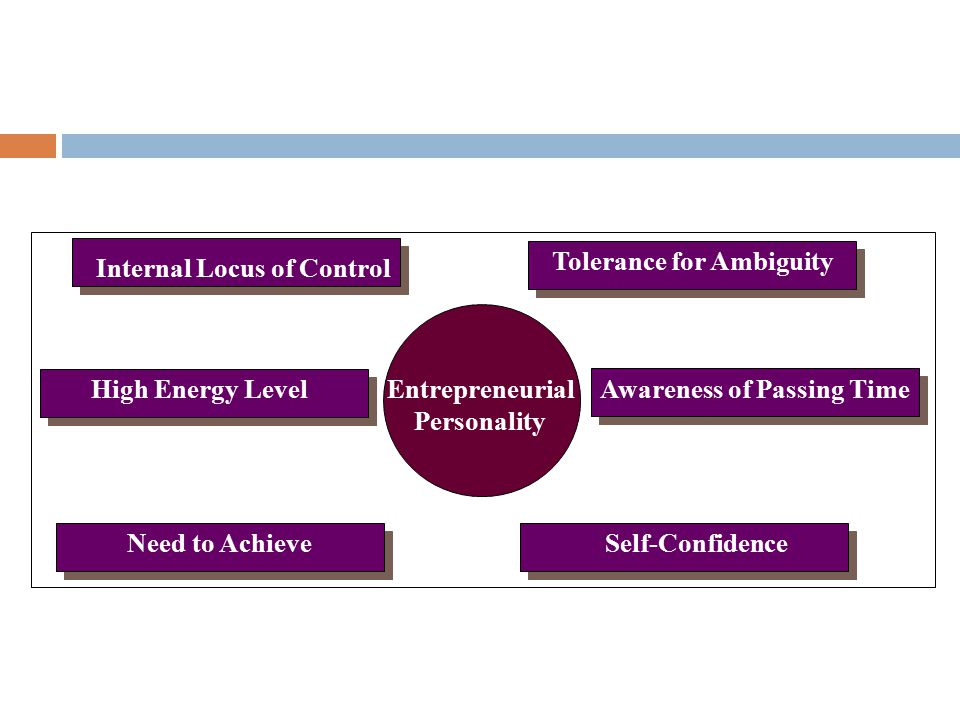 Awareness of Passing Time High Energy Level Need to Achieve Tolerance for Ambiguity Self-Confidence Entrepreneurial Personality Source: Adapted from C