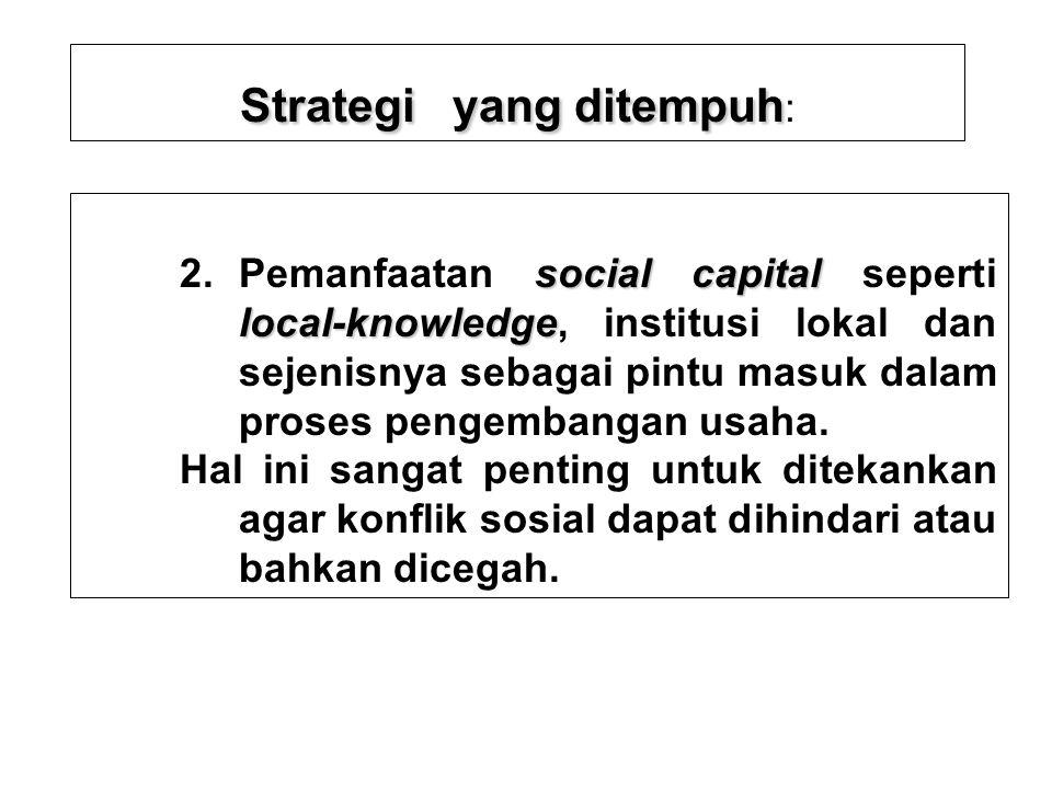 Strategi yang ditempuh: 2. Pemanfaatan social capital seperti local- knowledge, institusi lokal dan sejenisnya sebagai pintu masuk dalam setiap proses