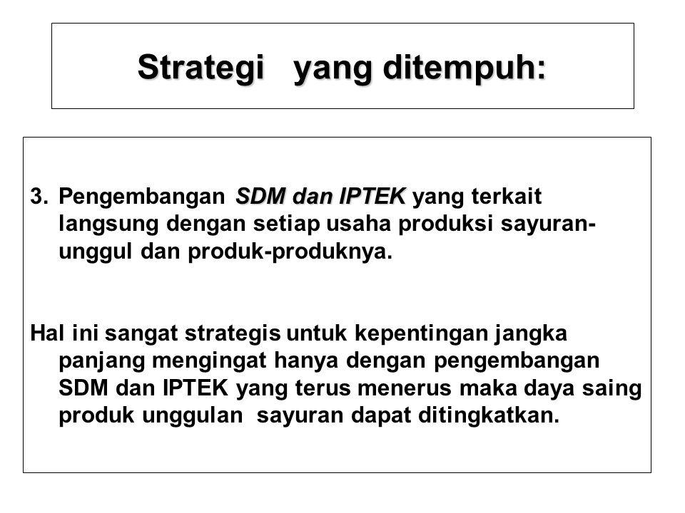 Strategi yang ditempuh Strategi yang ditempuh : –3. Pengembangan SDM dan IPTEK yang terkait langsung dengan setiap upaya pengembangan usaha perkebunan