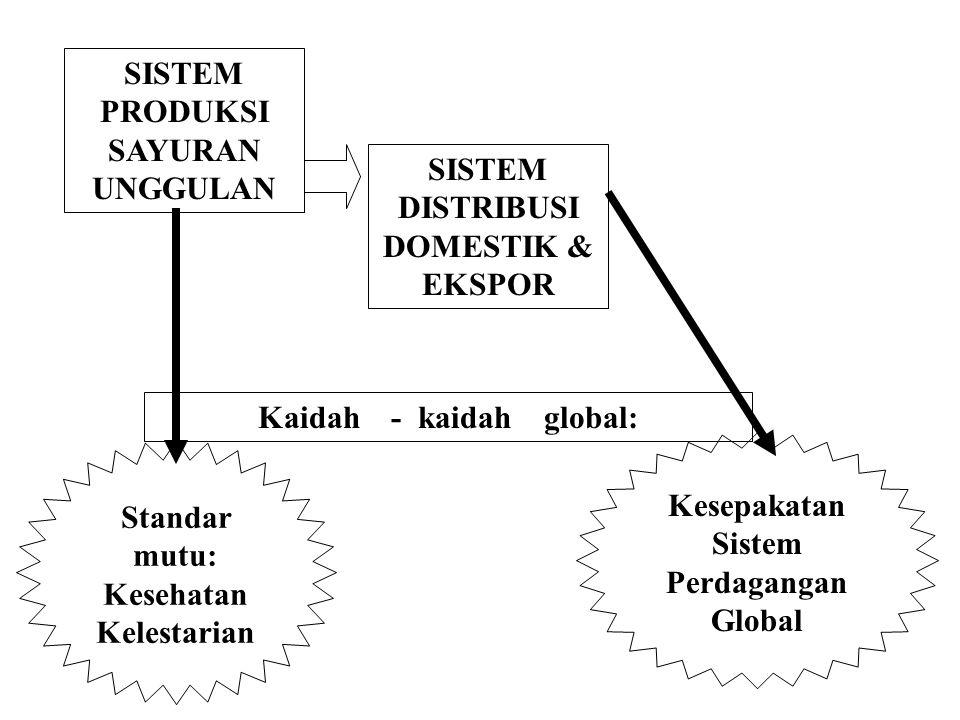 SISTEM PRODUKSI SAYURAN UNGGULAN SISTEM DISTRIBUSI DOMESTIK & EKSPOR Kaidah - kaidah global: Standar mutu: Kesehatan Kelestarian Kesepakatan Sistem Perdagangan Global