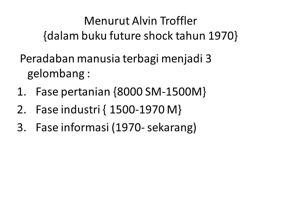 Menurut Alvin Troffler {dalam buku future shock tahun 1970} Peradaban manusia terbagi menjadi 3 gelombang : 1.