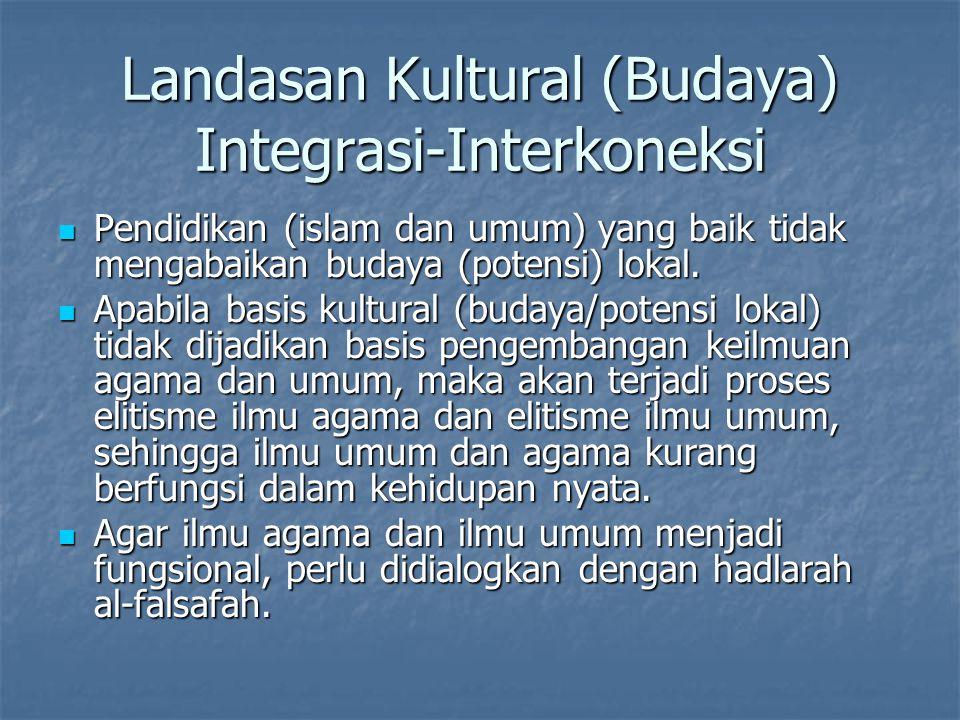 Pendidikan (islam dan umum) yang baik tidak mengabaikan budaya (potensi) lokal. Pendidikan (islam dan umum) yang baik tidak mengabaikan budaya (potens