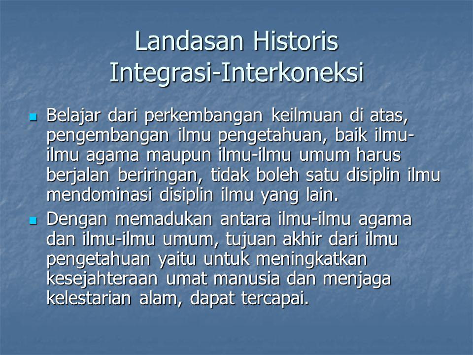 Landasan Historis Integrasi-Interkoneksi Belajar dari perkembangan keilmuan di atas, pengembangan ilmu pengetahuan, baik ilmu- ilmu agama maupun ilmu-
