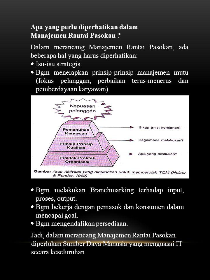 Apa yang perlu diperhatikan dalam Manajemen Rantai Pasokan ? Dalam merancang Manajemen Rantai Pasokan, ada beberapa hal yang harus diperhatikan:  Isu