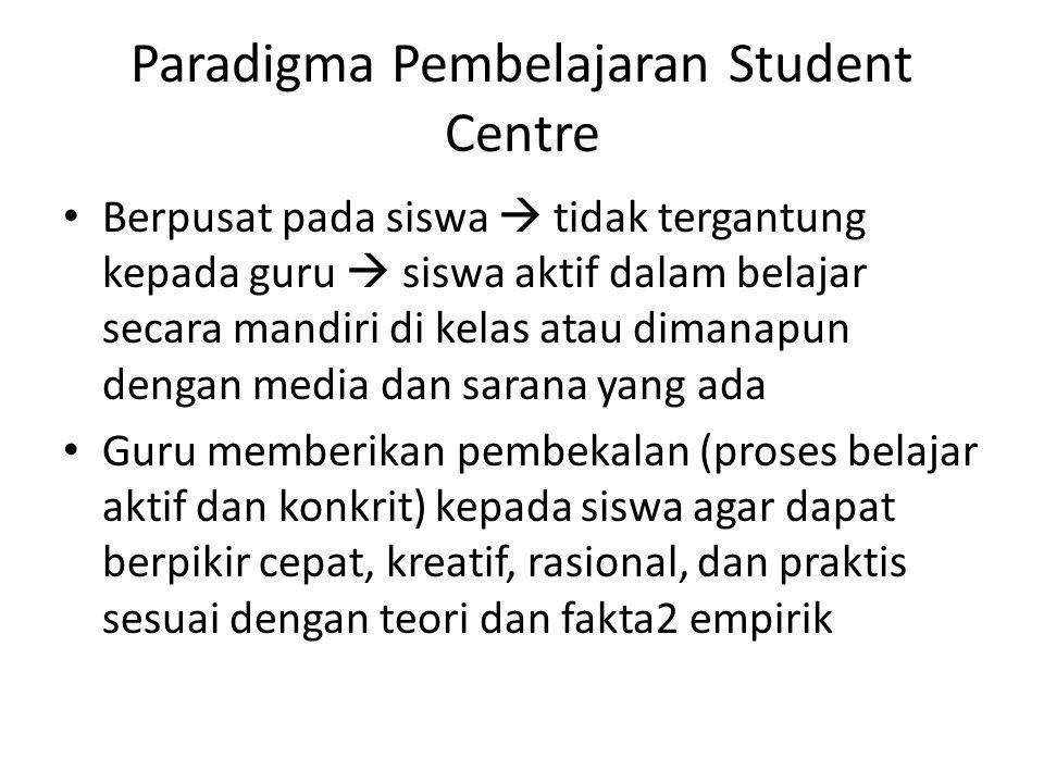 Paradigma Pembelajaran Student Centre Berpusat pada siswa  tidak tergantung kepada guru  siswa aktif dalam belajar secara mandiri di kelas atau dima