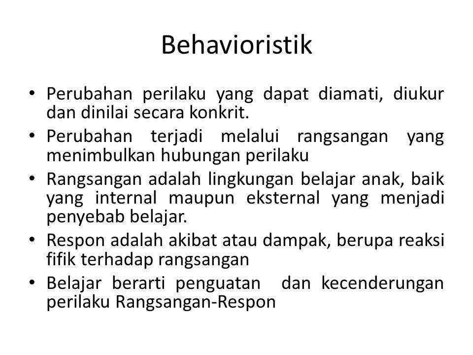Behavioristik Perubahan perilaku yang dapat diamati, diukur dan dinilai secara konkrit. Perubahan terjadi melalui rangsangan yang menimbulkan hubungan