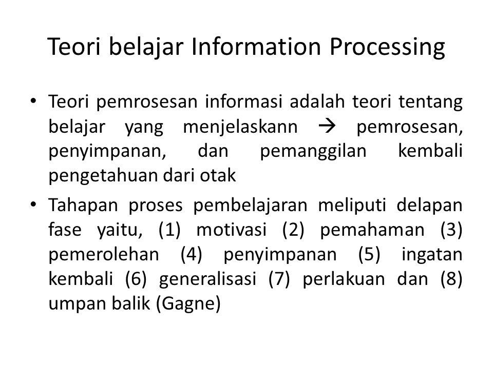 Teori belajar Information Processing Teori pemrosesan informasi adalah teori tentang belajar yang menjelaskann  pemrosesan, penyimpanan, dan pemanggi