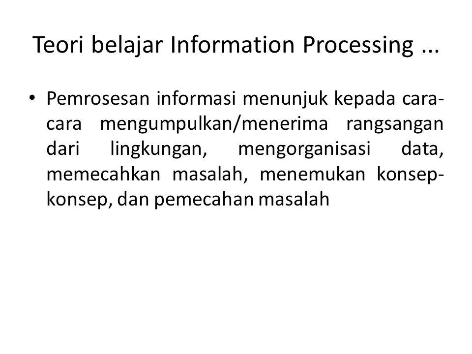 Teori belajar Information Processing... Pemrosesan informasi menunjuk kepada cara- cara mengumpulkan/menerima rangsangan dari lingkungan, mengorganisa