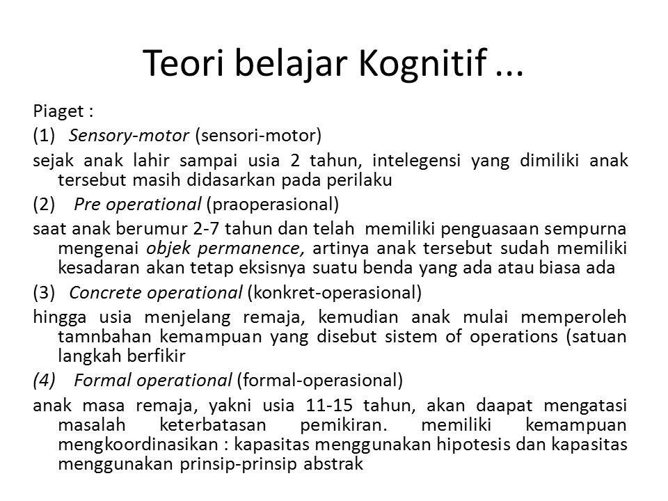 Teori belajar Kognitif... Piaget : (1) Sensory-motor (sensori-motor) sejak anak lahir sampai usia 2 tahun, intelegensi yang dimiliki anak tersebut mas