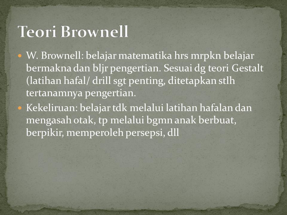 W.Brownell: belajar matematika hrs mrpkn belajar bermakna dan bljr pengertian.