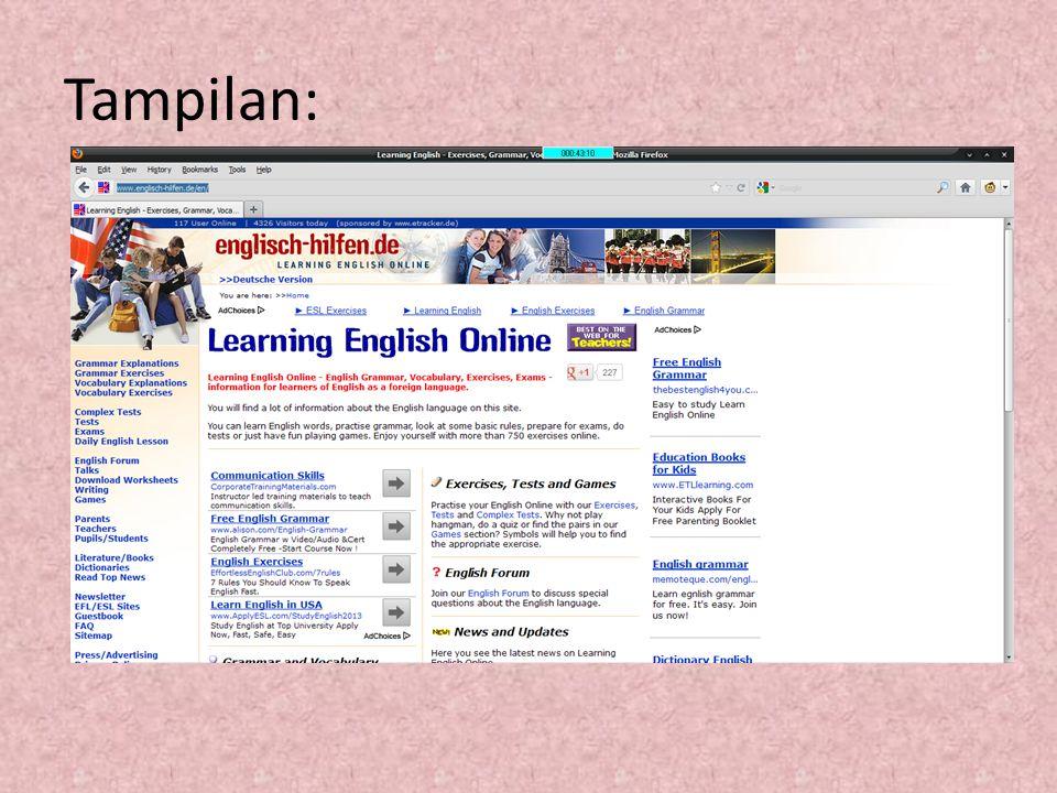 Materi-materi: 1.Grammar Explanation 2.Grammar Excercises 3.Vocabulary Explanation 4.Vocabulary Excersises 5.Complex Tests 6.Tests 7.Exams
