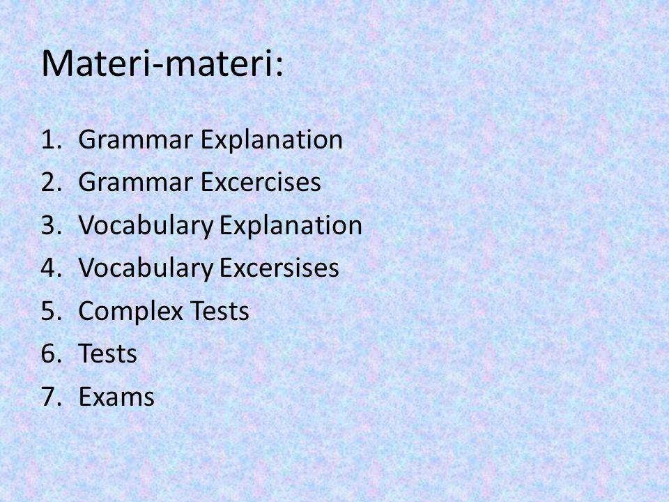 Contoh: Klik Grammar Excercises