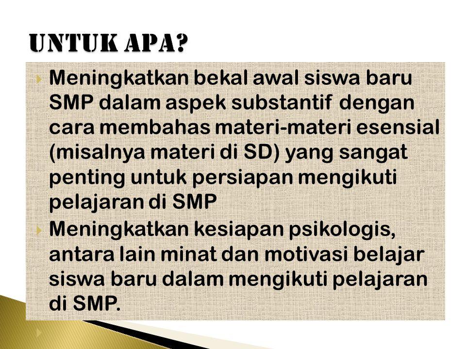  Materi/ bahan ajar BC mata pelajaran: Matematika, Bahasa Indonesia, Bahasa Inggris, dan IPA.