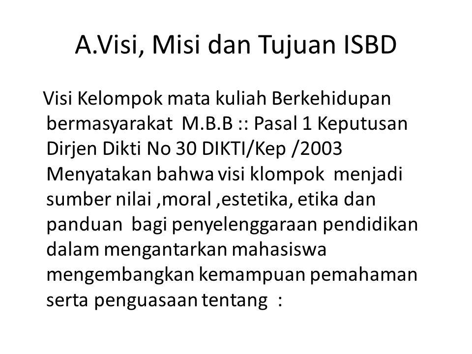 A.Visi, Misi dan Tujuan ISBD Visi Kelompok mata kuliah Berkehidupan bermasyarakat M.B.B :: Pasal 1 Keputusan Dirjen Dikti No 30 DIKTI/Kep /2003 Menyat