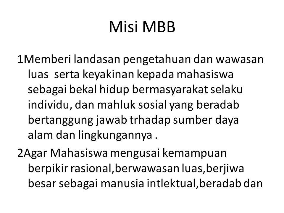 Misi MBB 1Memberi landasan pengetahuan dan wawasan luas serta keyakinan kepada mahasiswa sebagai bekal hidup bermasyarakat selaku individu, dan mahluk