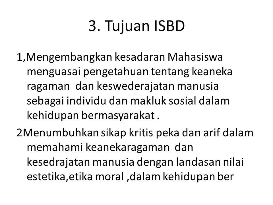 3. Tujuan ISBD 1,Mengembangkan kesadaran Mahasiswa menguasai pengetahuan tentang keaneka ragaman dan keswederajatan manusia sebagai individu dan maklu