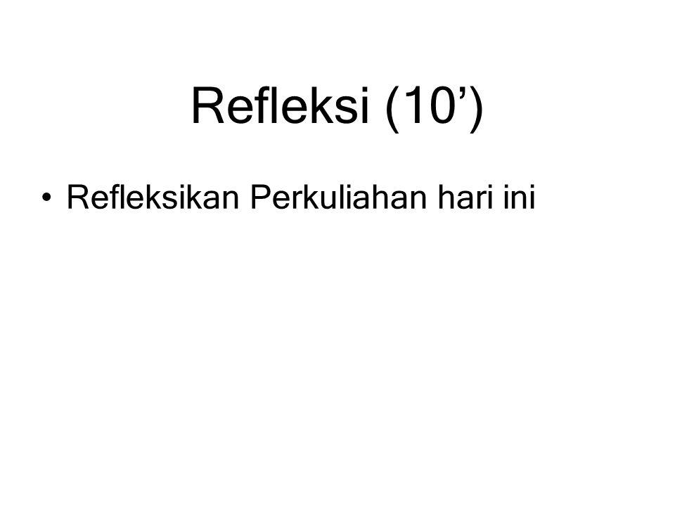 Refleksi (10') Refleksikan Perkuliahan hari ini