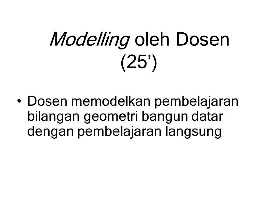 Modelling oleh Dosen (25') Dosen memodelkan pembelajaran bilangan geometri bangun datar dengan pembelajaran langsung