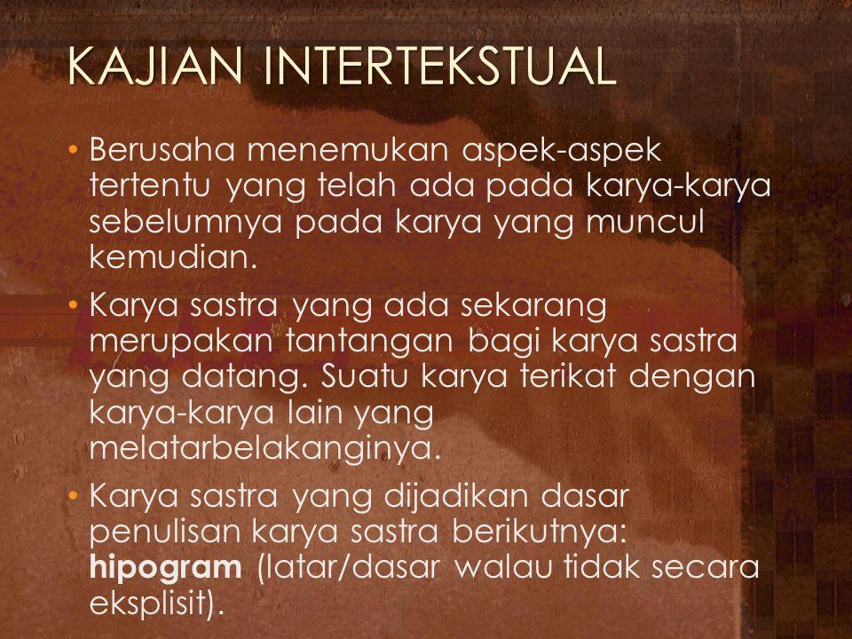 KAJIAN INTERTEKSTUAL Berusaha menemukan aspek-aspek tertentu yang telah ada pada karya-karya sebelumnya pada karya yang muncul kemudian. Karya sastra