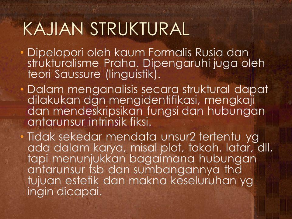 KAJIAN STRUKTURAL Dipelopori oleh kaum Formalis Rusia dan strukturalisme Praha. Dipengaruhi juga oleh teori Saussure (linguistik). Dalam menganalisis