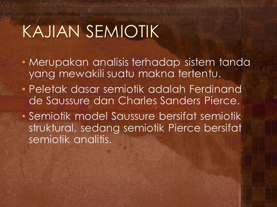 Teori Semiotik Saussure Mengungkapkan tentang signifier dan signified atau penanda dan pertanda.