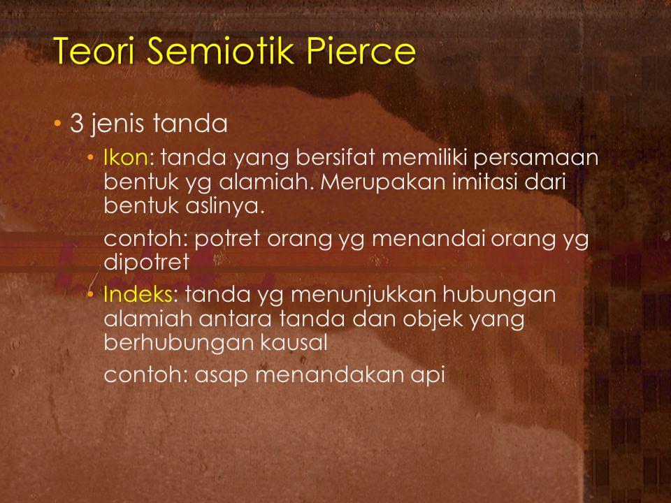 Teori Semiotik Pierce 3 jenis tanda Ikon: tanda yang bersifat memiliki persamaan bentuk yg alamiah. Merupakan imitasi dari bentuk aslinya. contoh: pot