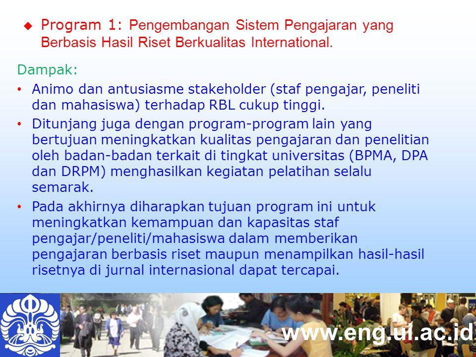 www.eng.ui.ac.id Dampak: Animo dan antusiasme stakeholder (staf pengajar, peneliti dan mahasiswa) terhadap RBL cukup tinggi.