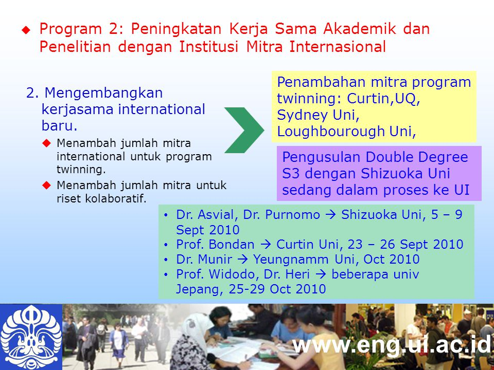 www.eng.ui.ac.id Penambahan mitra program twinning: Curtin,UQ, Sydney Uni, Loughbourough Uni, Dr.