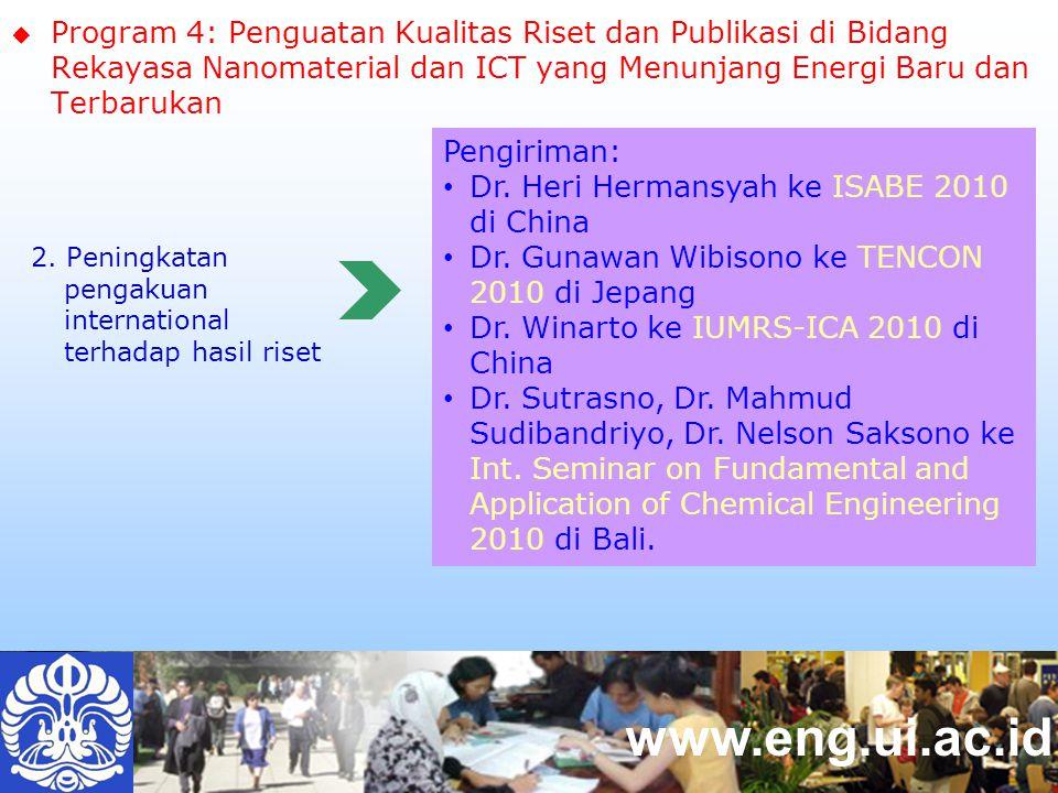 www.eng.ui.ac.id  Program 4: Penguatan Kualitas Riset dan Publikasi di Bidang Rekayasa Nanomaterial dan ICT yang Menunjang Energi Baru dan Terbarukan 2.