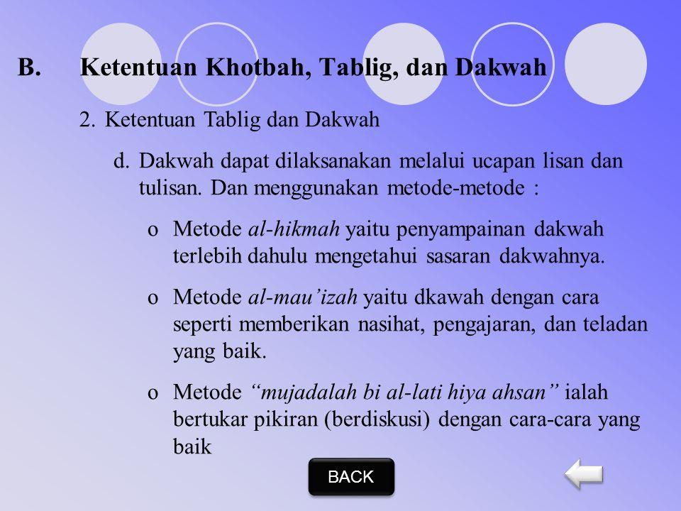 B.Ketentuan Khotbah, Tablig, dan Dakwah 2.Ketentuan Tablig dan Dakwah Ketentuan/ cara berdakwah Rasulullah SAW, yang harus dilaksanakan setiap Muslim