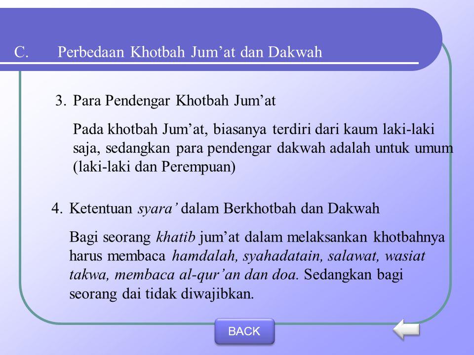 C.Perbedaan Khotbah Jum'at dan Dakwah 1.Waktu Pelaksanaan Pada khotbah Jum'at, waktu pelaksanaannya adalah sesudah matahari tergelincir (masuk waktu z