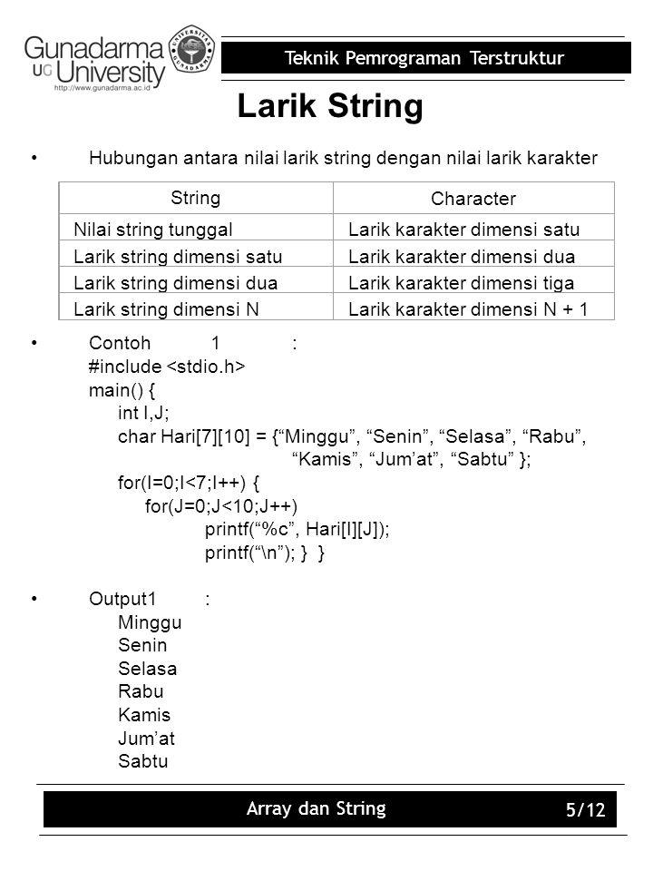 Teknik Pemrograman Terstruktur Array dan String 5/12 Larik String Hubungan antara nilai larik string dengan nilai larik karakter Contoh 1: #include ma
