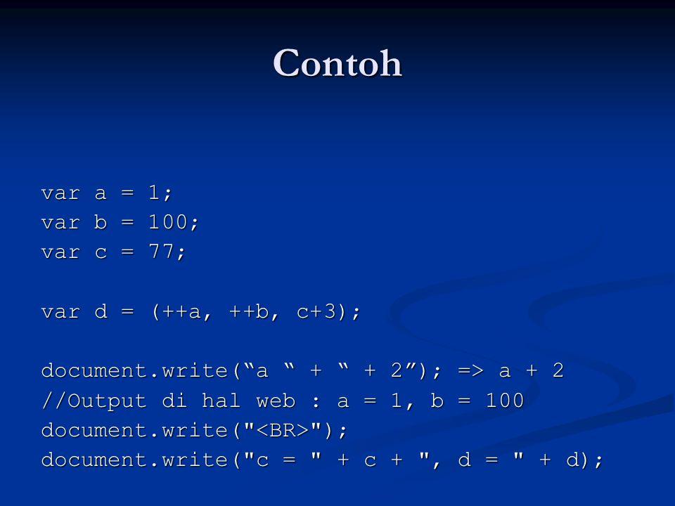 "Contoh var a = 1; var b = 100; var c = 77; var d = (++a, ++b, c+3); document.write(""a "" + "" + 2""); => a + 2 //Output di hal web : a = 1, b = 100 docum"