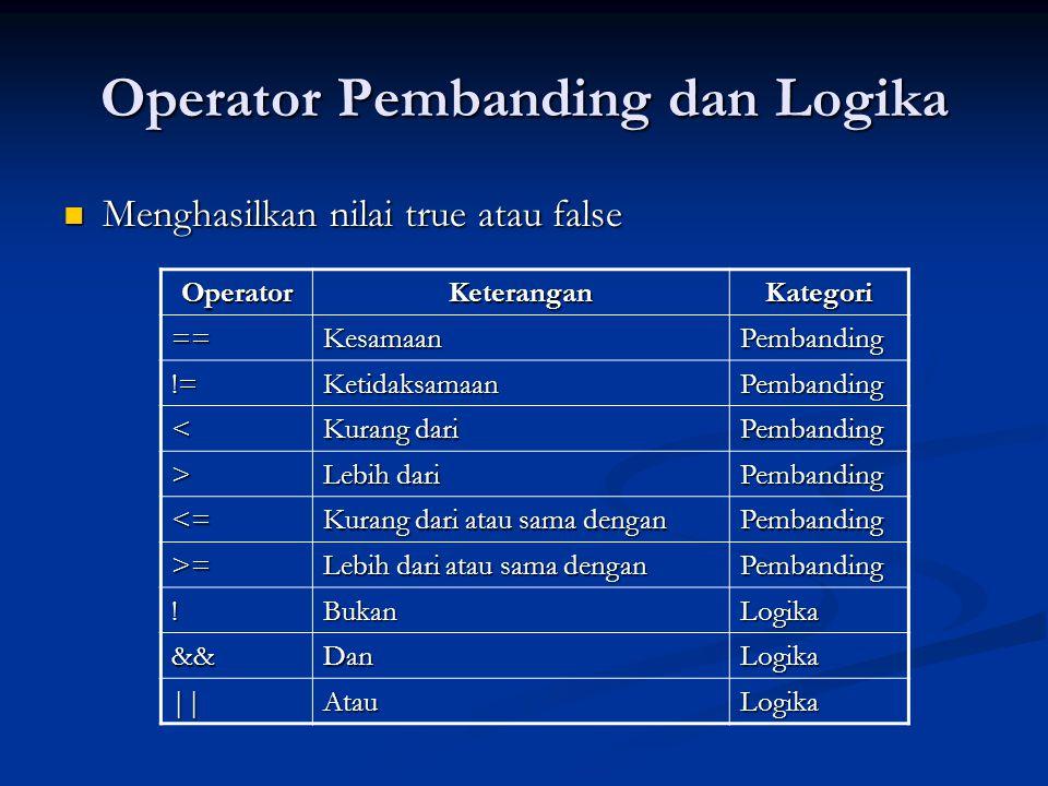 Operator Pembanding dan Logika Menghasilkan nilai true atau false Menghasilkan nilai true atau false OperatorKeteranganKategori ==KesamaanPembanding !