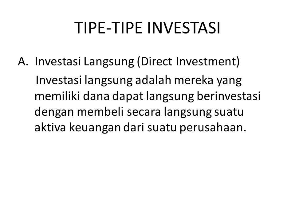 Macam-macam Investasi Langsung: 1.Investasi langsung yang tidak dapat diperjualbelikan 2.