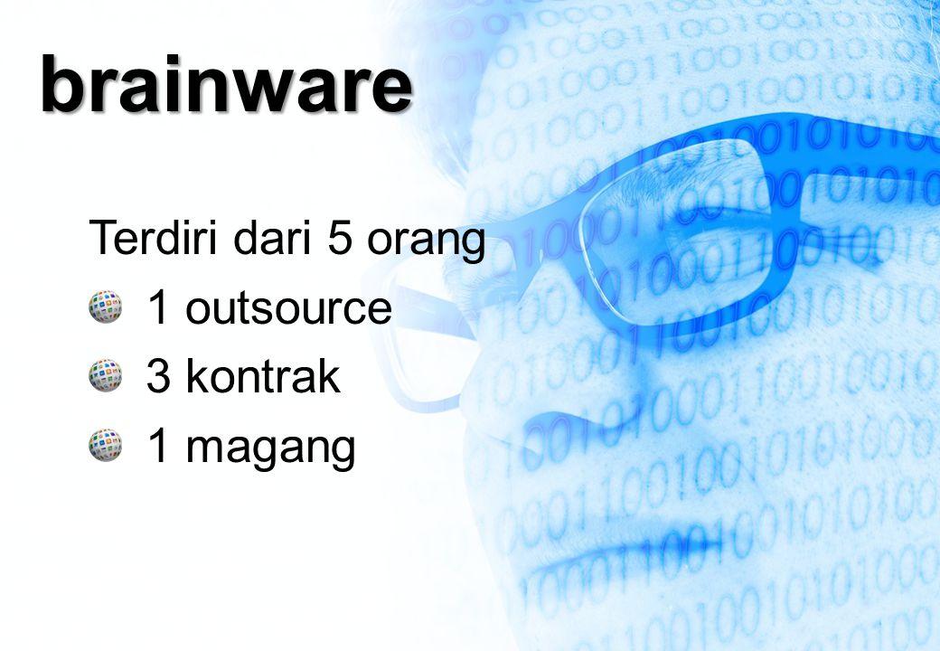 brainware Terdiri dari 5 orang 1 outsource 3 kontrak 1 magang