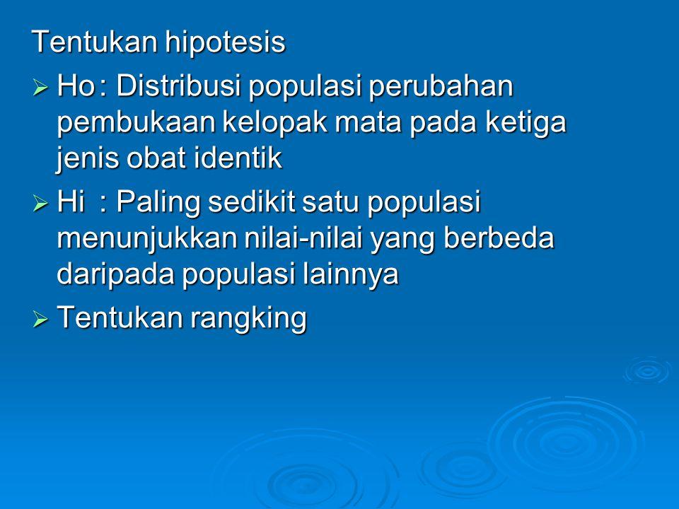 Tentukan hipotesis  Ho: Distribusi populasi perubahan pembukaan kelopak mata pada ketiga jenis obat identik  Hi: Paling sedikit satu populasi menunjukkan nilai-nilai yang berbeda daripada populasi lainnya  Tentukan rangking