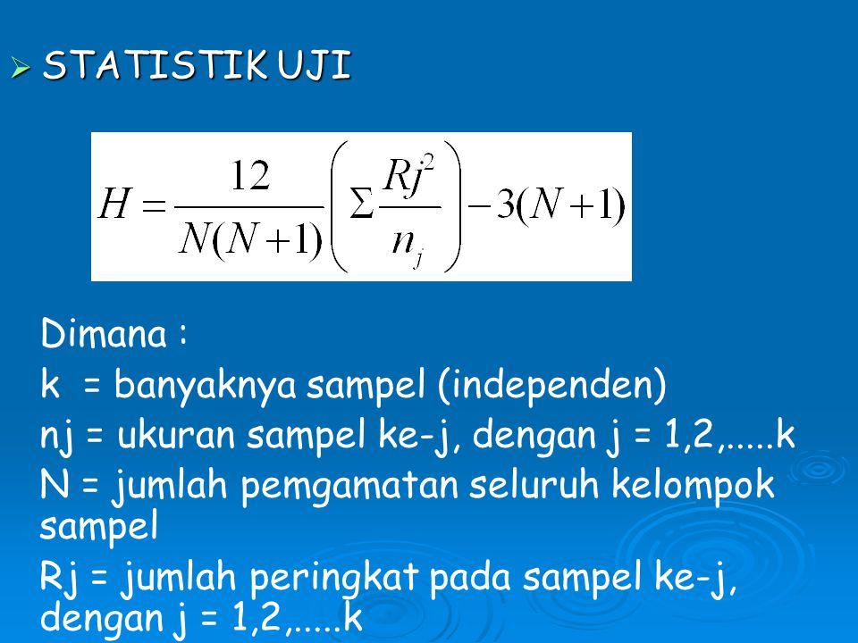  STATISTIK UJI Dimana : k = banyaknya sampel (independen) nj = ukuran sampel ke-j, dengan j = 1,2,.....k N = jumlah pemgamatan seluruh kelompok sampel Rj = jumlah peringkat pada sampel ke-j, dengan j = 1,2,.....k