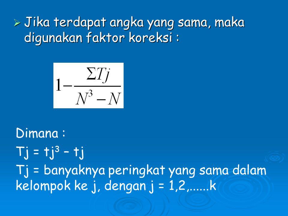  Jika terdapat angka yang sama, maka digunakan faktor koreksi : Dimana : Tj = tj 3 – tj Tj = banyaknya peringkat yang sama dalam kelompok ke j, dengan j = 1,2,......k