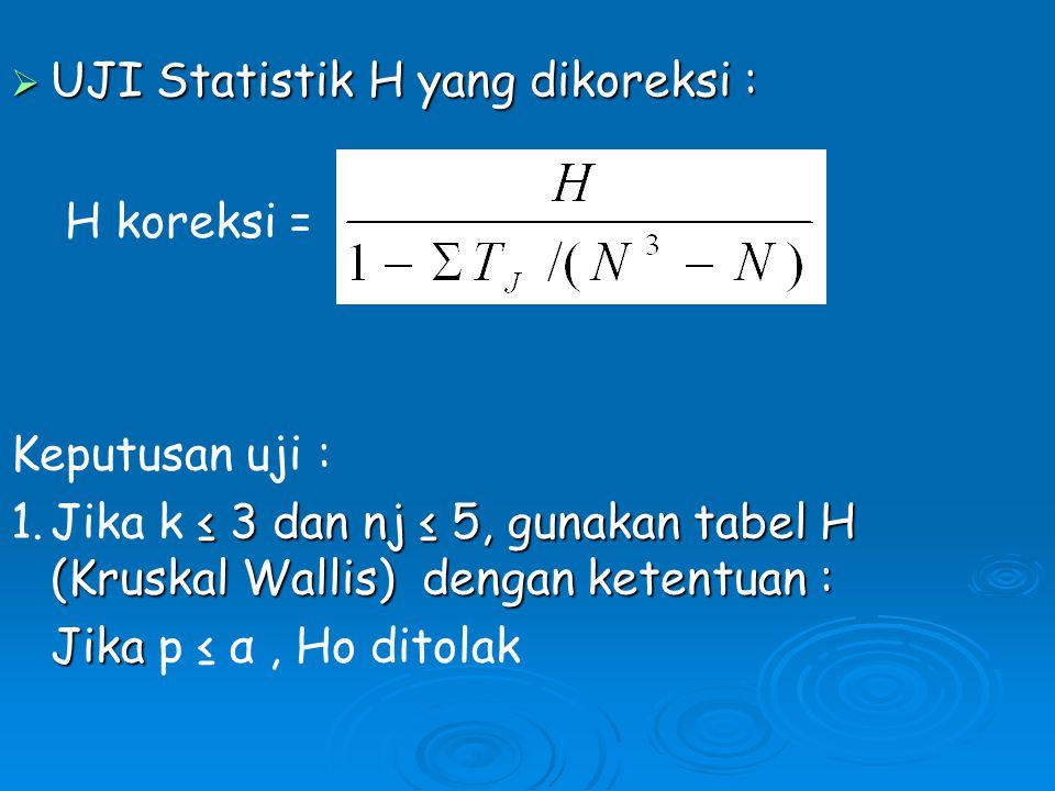  UJI Statistik H yang dikoreksi : H koreksi = Keputusan uji : ≤ 3 dan nj ≤ 5, gunakan tabel H (Kruskal Wallis) dengan ketentuan : 1.Jika k ≤ 3 dan nj ≤ 5, gunakan tabel H (Kruskal Wallis) dengan ketentuan : Jika Jika p ≤ α, Ho ditolak