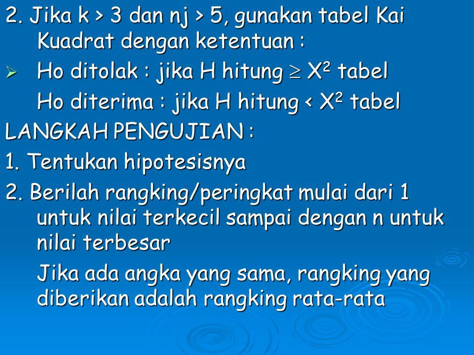 2. Jika k > 3 dan nj > 5, gunakan tabel Kai Kuadrat dengan ketentuan :  Ho ditolak : jika H hitung  X 2 tabel Ho diterima : jika H hitung < X 2 tabe