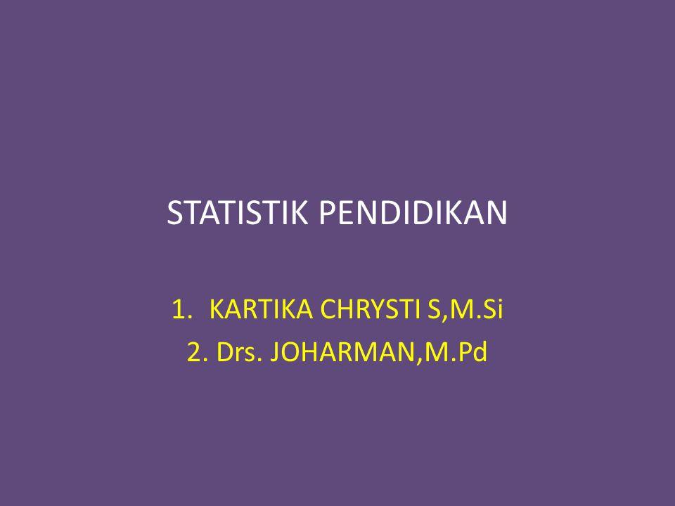 STATISTIK PENDIDIKAN 1.KARTIKA CHRYSTI S,M.Si 2. Drs. JOHARMAN,M.Pd