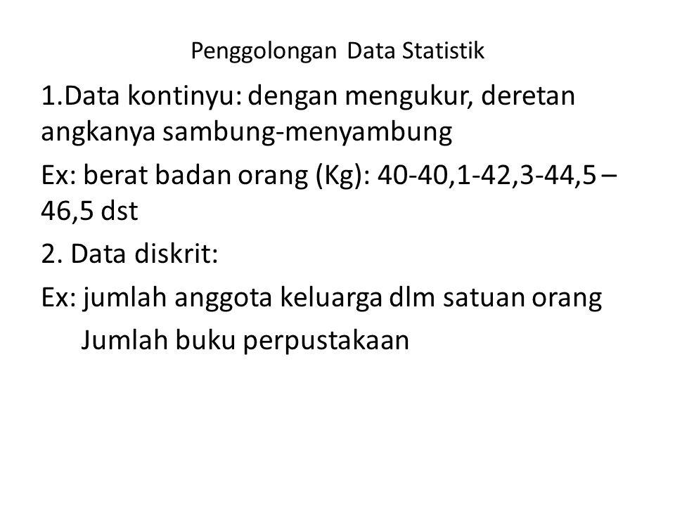 Penggolongan Data Statistik 1.Data kontinyu: dengan mengukur, deretan angkanya sambung-menyambung Ex: berat badan orang (Kg): 40-40,1-42,3-44,5 – 46,5