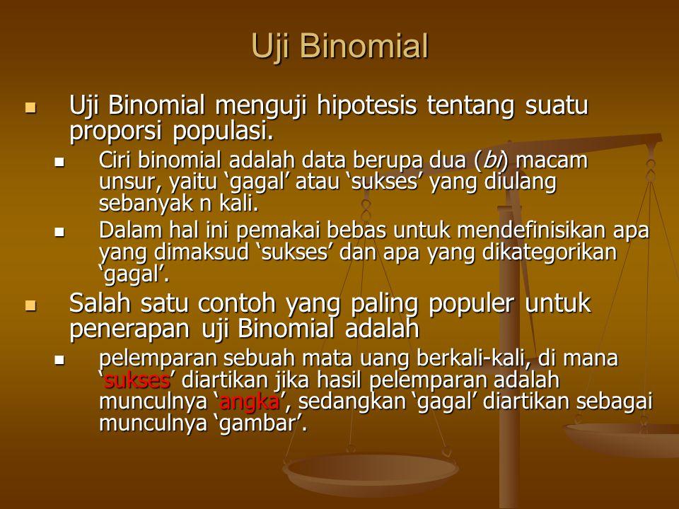 Uji Binomial Uji Binomial menguji hipotesis tentang suatu proporsi populasi. Uji Binomial menguji hipotesis tentang suatu proporsi populasi. Ciri bino